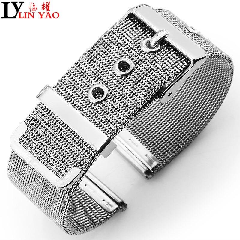 Malla de acero fino para pulseras de relojes de cuarzo 16mm 24mm correa de reloj de acero inoxidable aplicable a DW Calvin Klein, correa de relojes Timex.