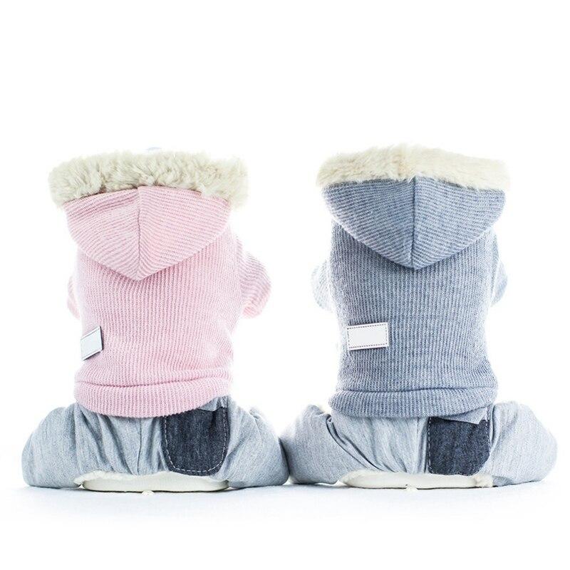 Caliente mascota invierno grueso traje de cuatro piernas para perros pequeños medianos cachorro abrigo