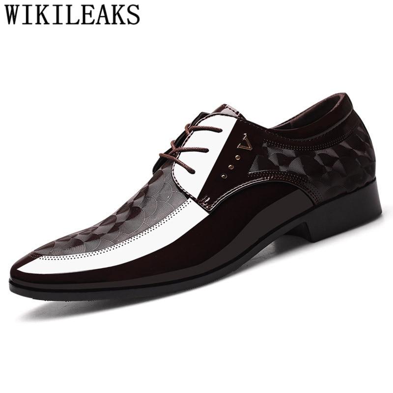 Italian Oxford Shoes For Men Designer Mens Patent Leather Black Shoes Mens Pointed Toe Dress Shoes 2020 Classic Derbies Man