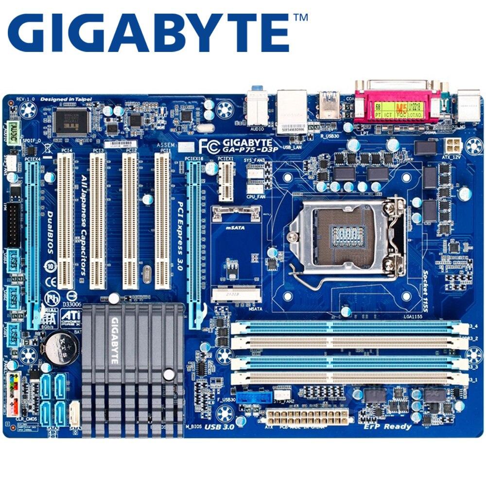 GIGABYTE GA-P75-D3P настольная материнская плата B75 Socket LGA 1155 i3 i5 i7 DDR3 32G ATX UEFI BIOS оригинальная B75-D3V б/у материнская плата