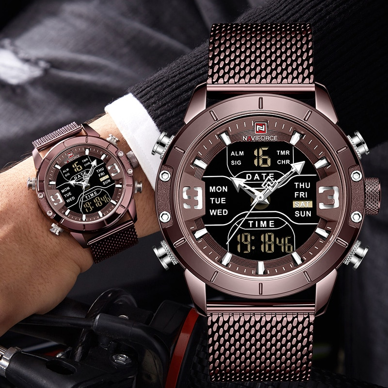 NAVIFORCE Watch Men Stainless Steel Military Army Waterproof Man Wristwatch Digital Quartz Male Clock Relogios Masculino 9153