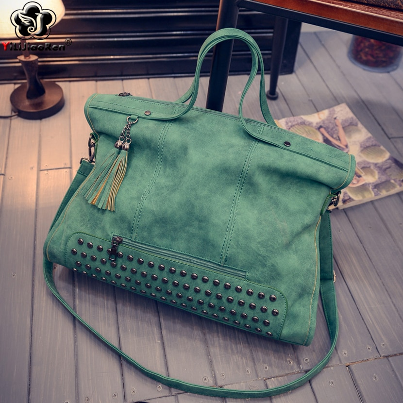 luxury women genuine leather handbags fashion rivet cow leather messenger shoulder bags bolsas feminina designer phone bag Fashion Rivet Women Handbags High Quality Nubuck Leather Ladies Hand Bags Large Shoulder Bag Luxury Handbags Women Bags Designer