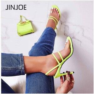 JINJOE Gladiator Sandals Fashion Women Sandals High Heels Open toe PVC Ankle Strap Elastic Shoes stiletto Pumps INS Colour heel