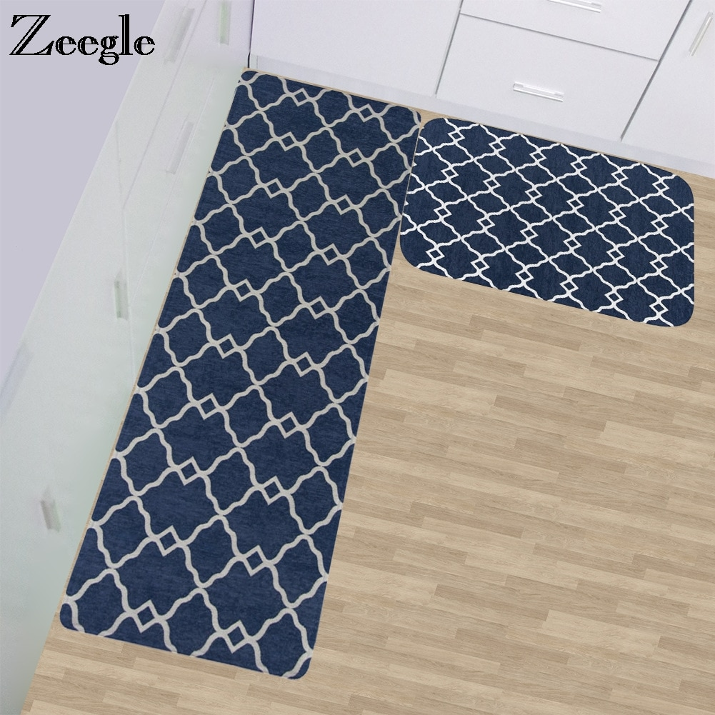 Zeegle Long Kitchen Rug Anti-slip Bathroom Floor Mat Water Absorption Kitchen Carpet Balcony Table Chair Mat Rug Bedroom Carpet