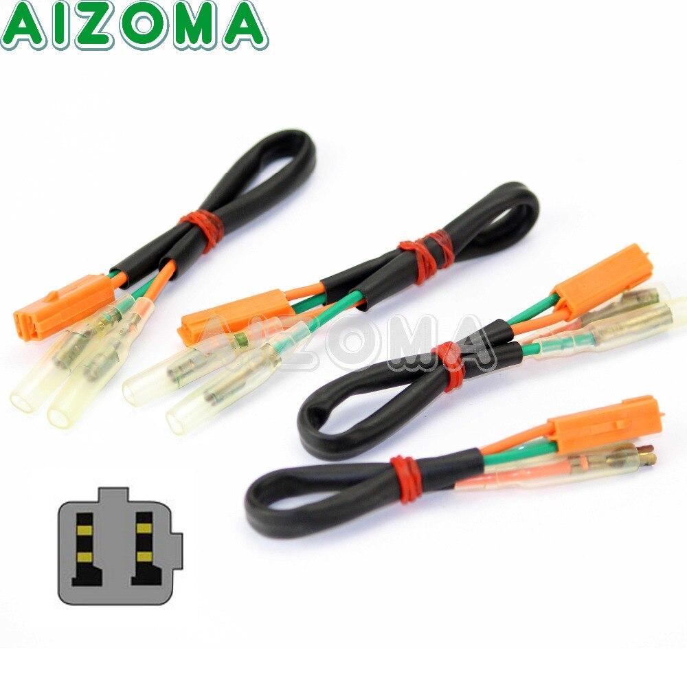4 adaptateurs de fil de clignotant de moto adaptateur de clignotant de câble de connecteur de plomb pour KAWASAKI EX ZX 250 300 600 Ninja 6R 9R 10R 12R