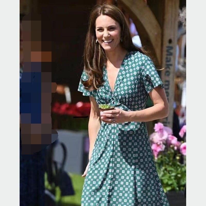 Princesa Kate Middleton Vestido 2019 Pista de Alta Qualidade Vestido de Mulher Com Decote Em V Manga Curta Vestidos Elegantes Impressos NP0689C