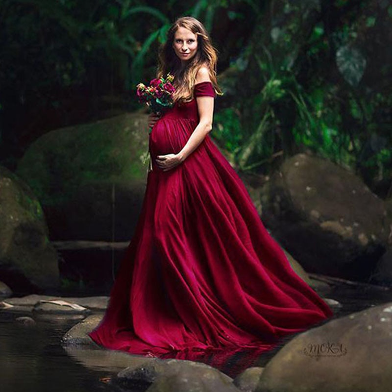 Elegant Maternity Dresses for Photo Shoot Sexy V Neck Off Shoulder Pregnancy Photography Dress Pregnant Women Party Maxi Dress enlarge