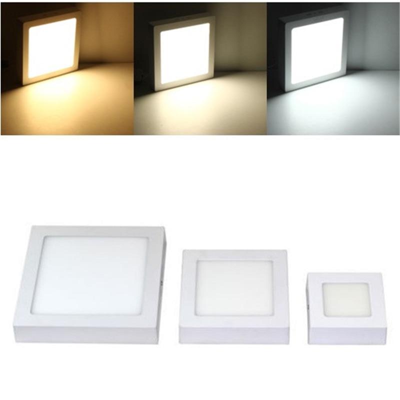 9W 15W 25W LED luz para superficie del techo Panel Squaer LED lámpara de techo AC85-265V blanco cálido blanco Natural blanco frío LED luz interior