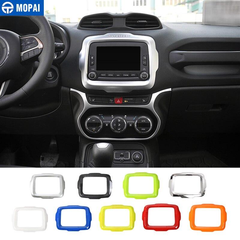 Pegatinas de decoración de marco de navegación GPS de centro de para coches MOPAI, accesorios para Jeep Renegade 2015-2017, diseño de coche
