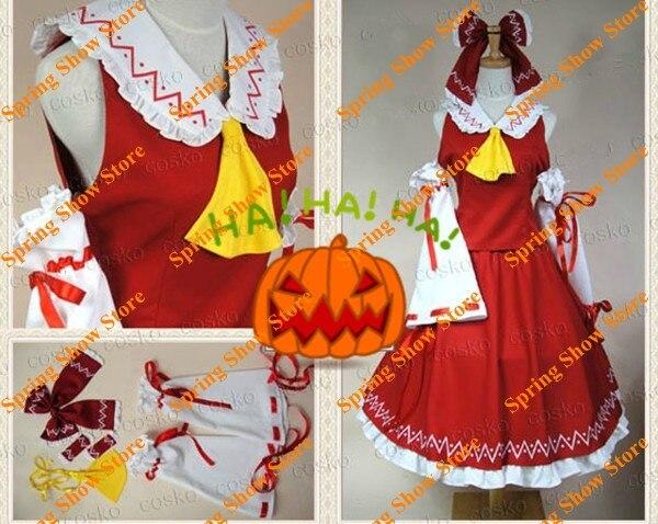 Touhou Project Lotus Land Story Hakurei Reimu Custom Made Red Dress Anime Uniform Cosplay Costume