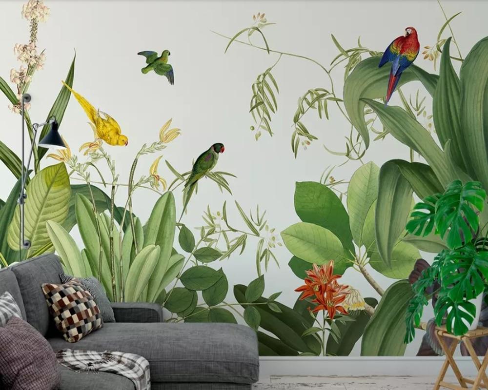 Papel de pared 3d de planta Tropical, Papel tapiz para sala de estar, sofá, pared de TV, dormitorio, papeles tapiz decoración del hogar, restaurante, cafetería, Mural personalizado