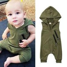 Hot Casual recién nacido niños niñas sin mangas con capucha mono ropa 0-24 M