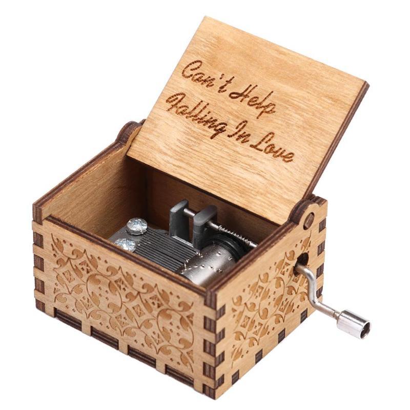 Caja de música de madera hecha a mano con torre de manivela,...