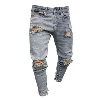 Pantalones vaqueros rasgados para hombres Skinny vaqueros azules de motociclista Pantalones vaqueros de marca de moda Jeans de motociclista tamaño S-3XL