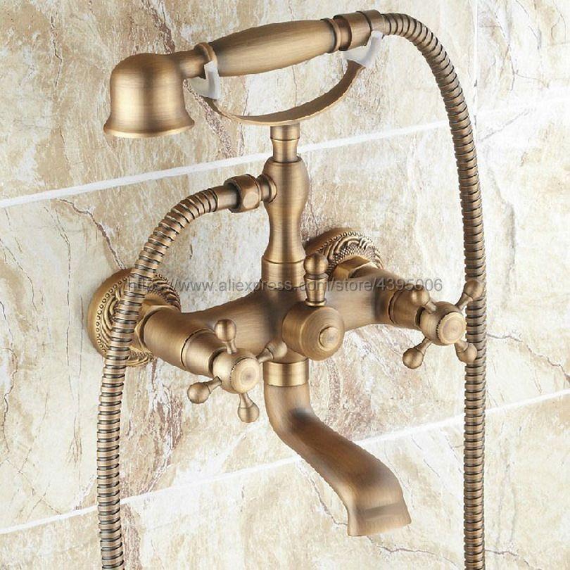العتيقة النحاس الجدار الخيالة مزدوجة مقبض حوض الاستحمام الحنفيات مع دش يدوي نمط الهاتف حمام دش صنبور Btf121
