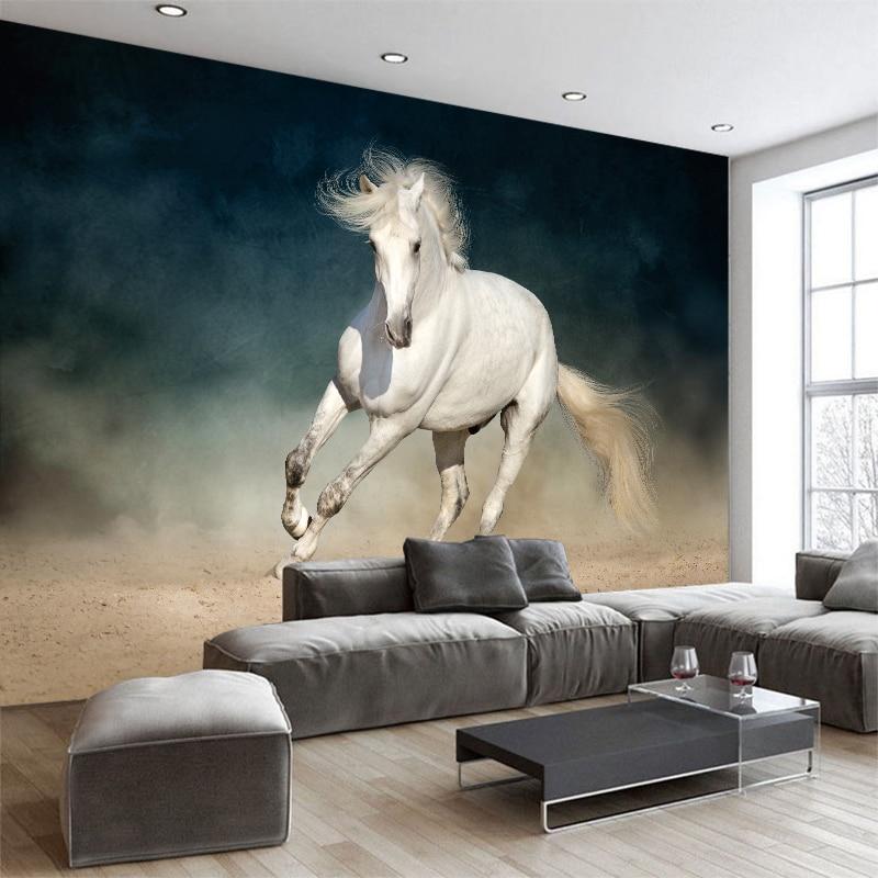 3D creativo foto personalizada moderno blanco Hores papel pintado pared Mural Animal telón de fondo revestimiento de paredes sala de estar decoración del hogar