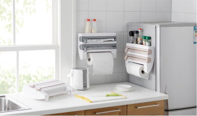 1PC Multi-functional 6 in 1 Aluminum Film Paper Towel Holder Wrap Cutter Spice Jar Holder Kitchen Storage Shelf Rack OK 0728