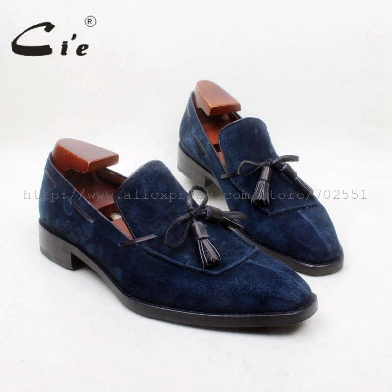 Мужская обувь с квадратным носком cie, 100% натуральная кожа, подошва, сшитая на заказ, Goodyear, ручная работа, темно-синяя замша, с бахромой, без застежки, No.loafer 161