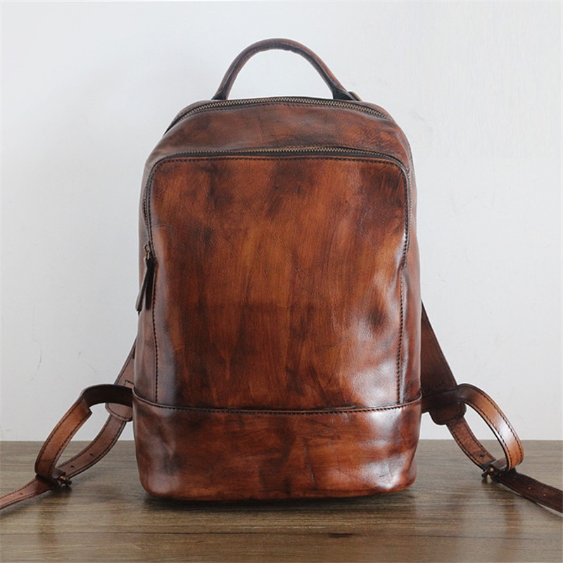 Nesitu-حقيبة ظهر جلدية أصلية عتيقة للنساء والرجال ، حقيبة مدرسية ، جلد طبيعي ، جودة عالية ، بني ، # M2115
