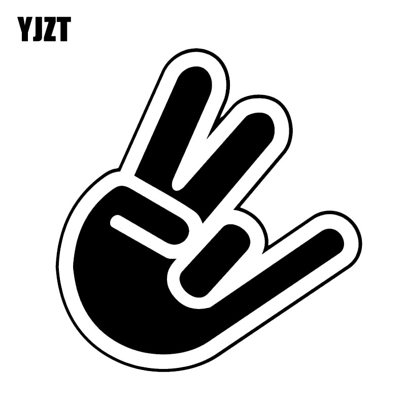 YJZT 12.4*13.1CM Coolest Fingers And Hand Car Sticker Vinyl Decoration High Quality Black/Silver Acc