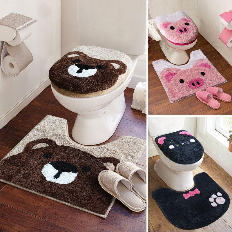 3pcs/set Super Soft Thicken Toilet Sets Bathroom Toilet Seat Cover Cartoon Warm Closestool Toilet Cushion Lid Cover Bath Mat Set