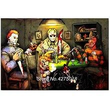 Peinture en croix point de croix bricolage   5D broderie en diamant de Michael Myers vs Jason Voorhees SLASHERS décor de film dhorreur Pop CF813