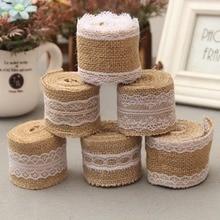 Diy Roll Linen Lace Handmade Natural Vintage Jute Hessian Burlap Ribbon Wedding Party Decoration Supply Custom length