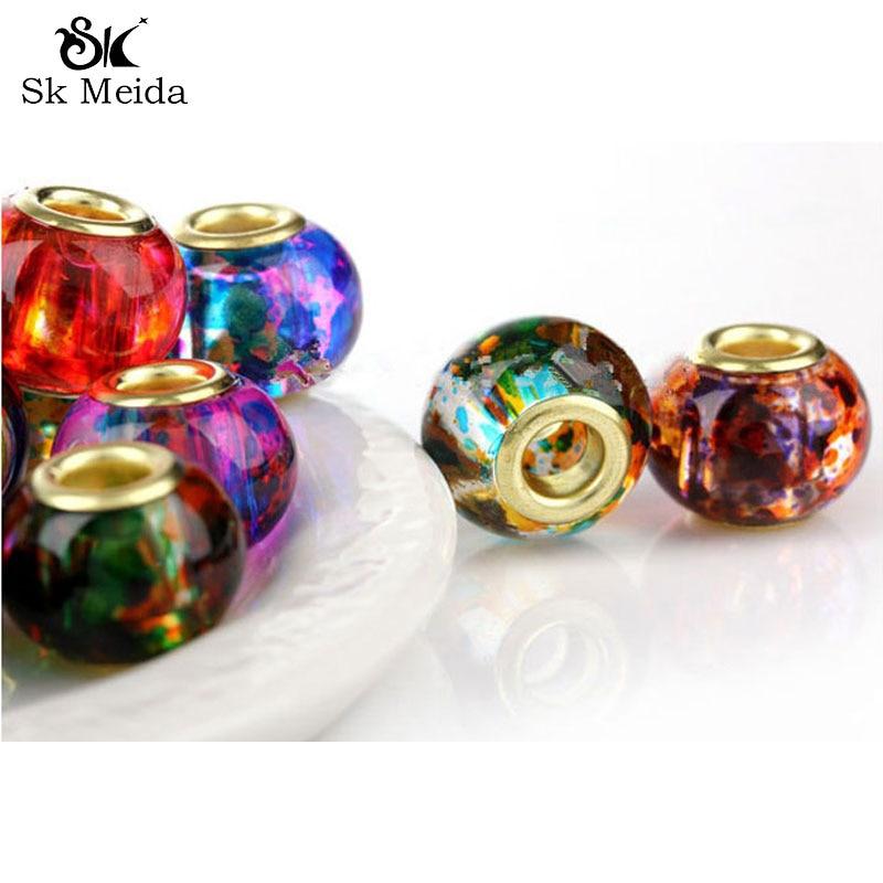 30 шт. разноцветные стеклянные кристаллические шарики, европейские бисер, Кристальные перлы, аксессуары для ювелирных изделий, китайские ук...