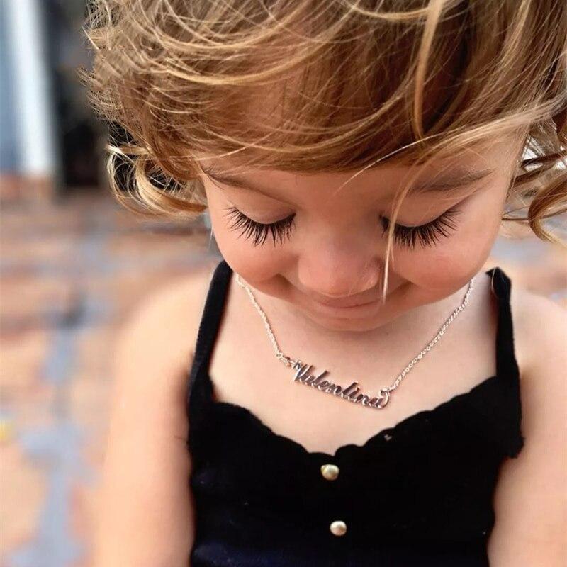 Dodoai bebê jóias nome personalizado colar crianças pingente gargantilha personalizado números colar para meninas menino presente