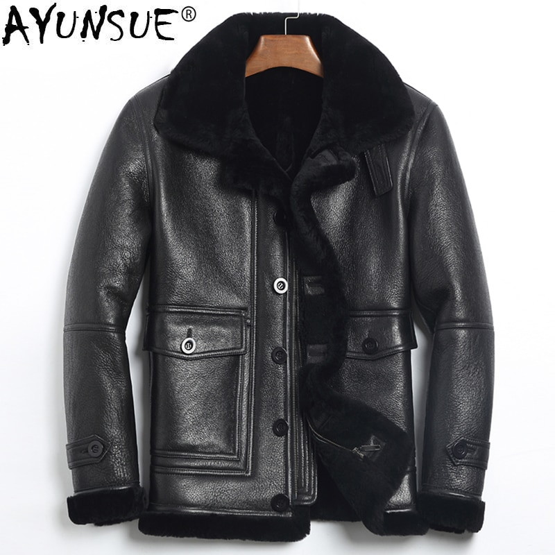 Ayunsu الرجال سترة جلدية حقيقية الشتاء الأغنام القص سترة الرجال معطف جلد حقيقي رجل الطيار الطيران Jacket185-1 KJ1078