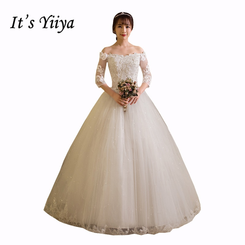 Кружевное свадебное платье в пол с вырезом лодочкой и длинными рукавами, свадебные бальные платья большого размера, HS258, 2017