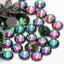 SS3-SS30 couleur de flamme vert cristal Non Hotfix/colle sur strass Flatback pour les décorations 3D de vêtement