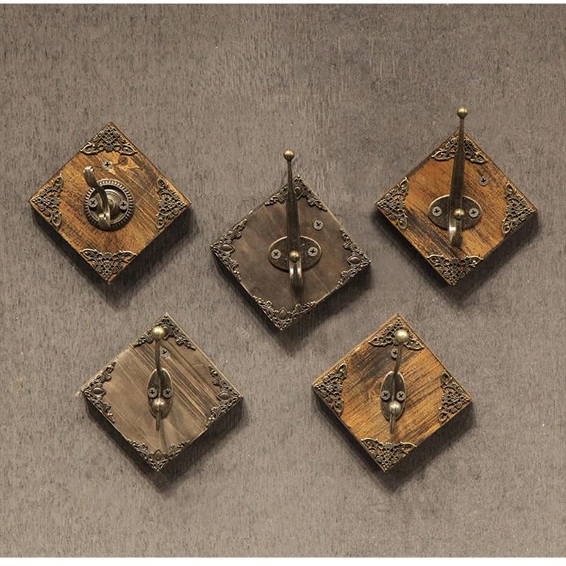 Retro Metal Clothing Store Coat Hooks Wall Butler Home Decor Square Dark Hat Storage