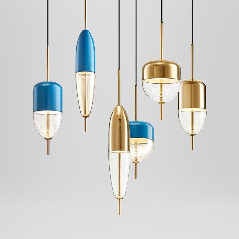 Post Modern Golden Blue Water Drop Glass Pendant Light Restaurant Bar Desk Designer Single Head Droplight Hanging Lamp