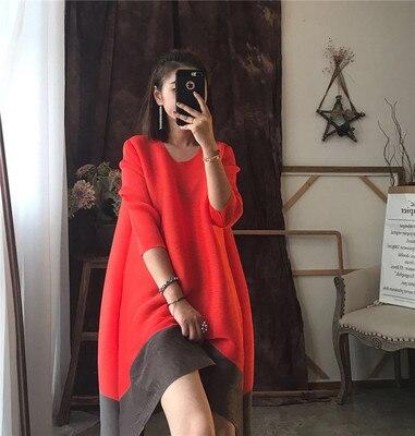 Envío gratis de moda Vestido de manga larga con doble división de 7 minutos de cuello redondo de retales en STOCK