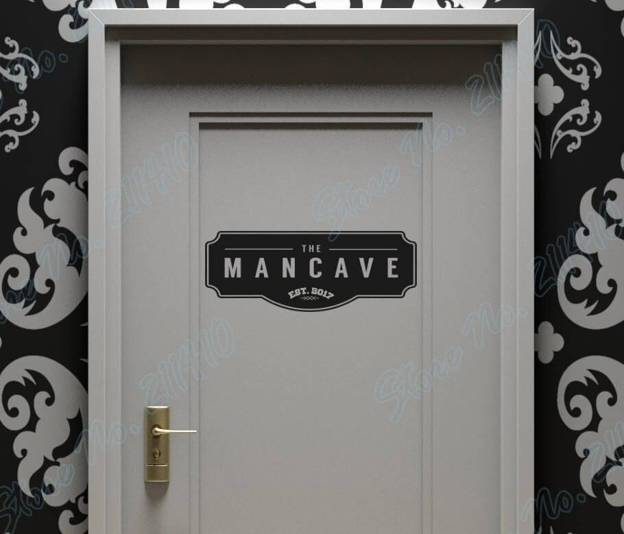 La ManCave pared signo de puerta de tema para todos los hombres señal distintiva habitación adhesivo para decoración hogareña vinilo removible adhesivo artístico de pared B159