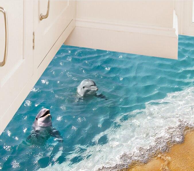 Papel pintado de pared moderno 3d estrella de mar lazo lindo delfín playa y Pvc pared impermeable luz náutica reflejo