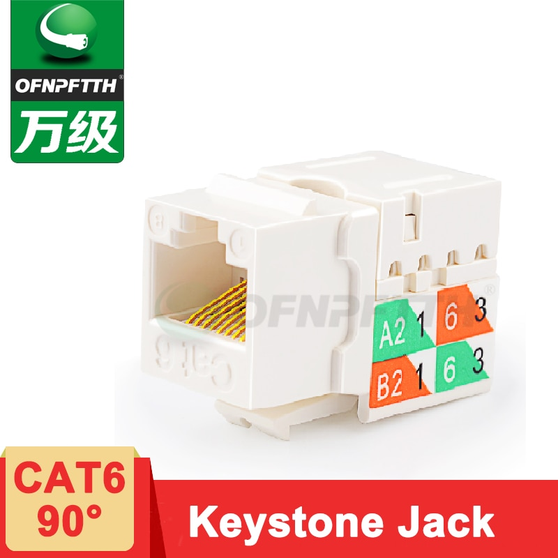 Keystone Jack UTP CAT6 90 Graus 8P8C Gold-plated RJ45 Modular Plug