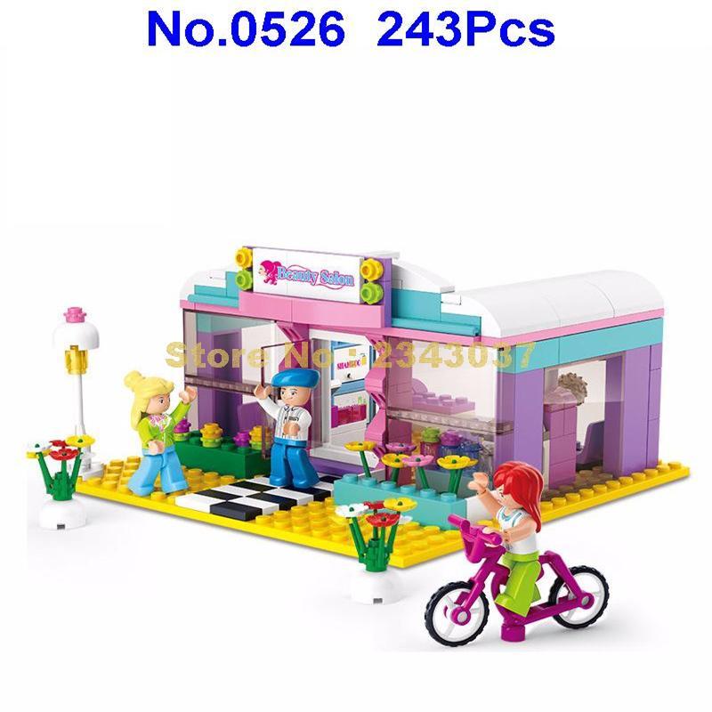 Sluban 0526 243 Uds pink dream amigas salón de belleza peluquería barbería tienda juguete de bloques de construcción