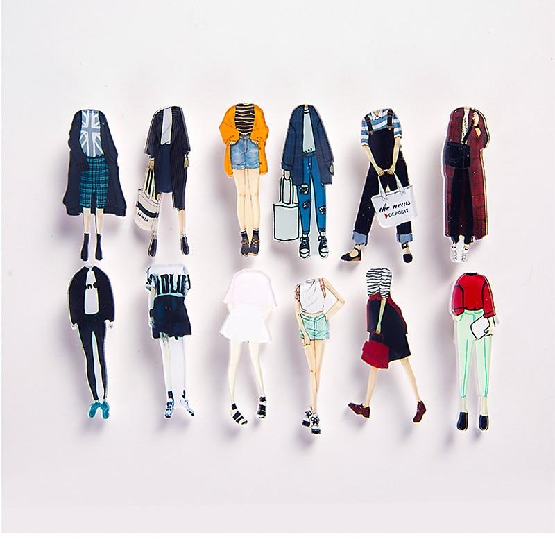 Hot 1PC Cute cartoon Acrylic Badge Couple Half body Japanese Harajuku Funny Brooch For Women Cloth Girls Bag Pins