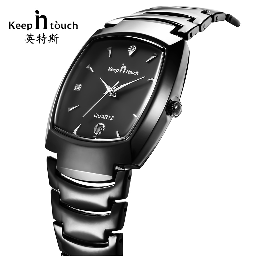 KEEP IN Touch Top Brand Watch Men Black Business Calendar Quartz Mens Watches Dress Stainless Steel Male Clock erkek kol saati
