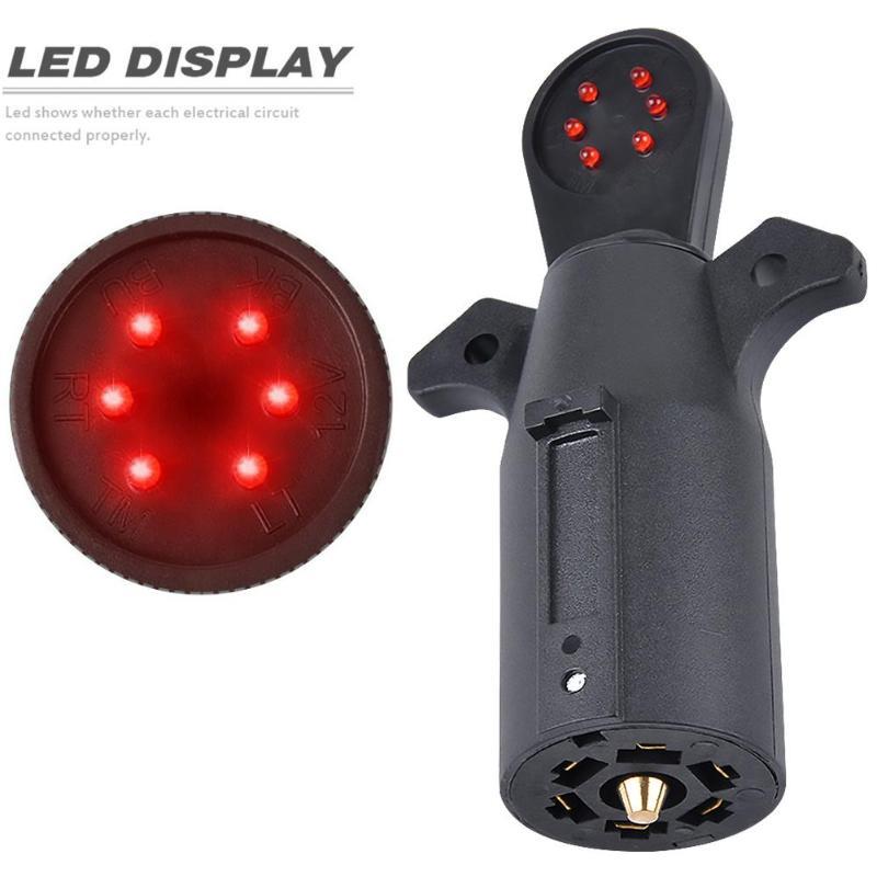 12V 7 Way RV Blade Connector Tester Socket Plugs 7 Pin Trailer Wiring Circuit Light Tester Car Circuit Testing