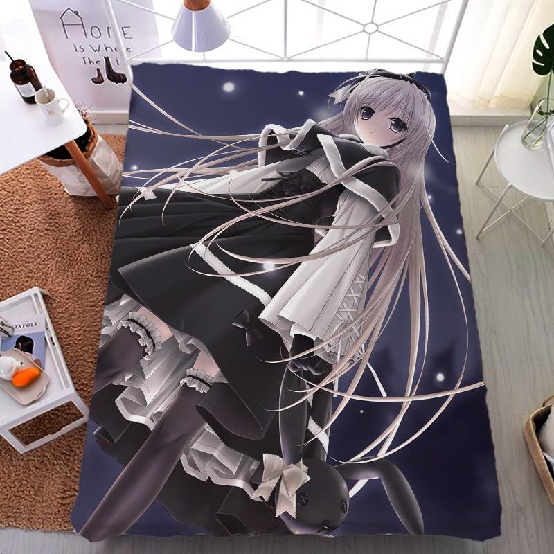 Junio actualización Anime Yosuga no Sora personaje sexy chica Sora Kasugano leche fibra cama sábana y manta de franela verano edredón 150x200 cm