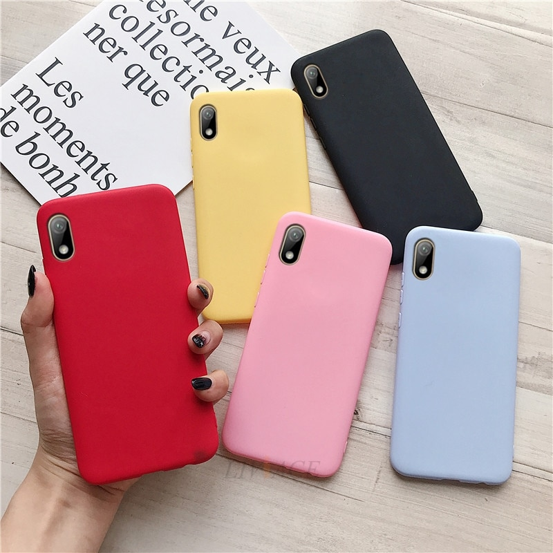 Capa de celular colorida de silicone, capa de celular para huawei y5 2019 2018, fofo, macio, tpu, tampa traseira para huawei honor 8s 8c coque funda