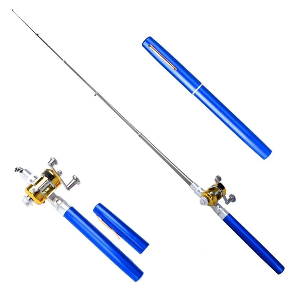 Portable Pocket Telescopic Mini Fishing Pole Pen Shape Folded Fishing Rods With Reel Wheel Fishing Rod Pen