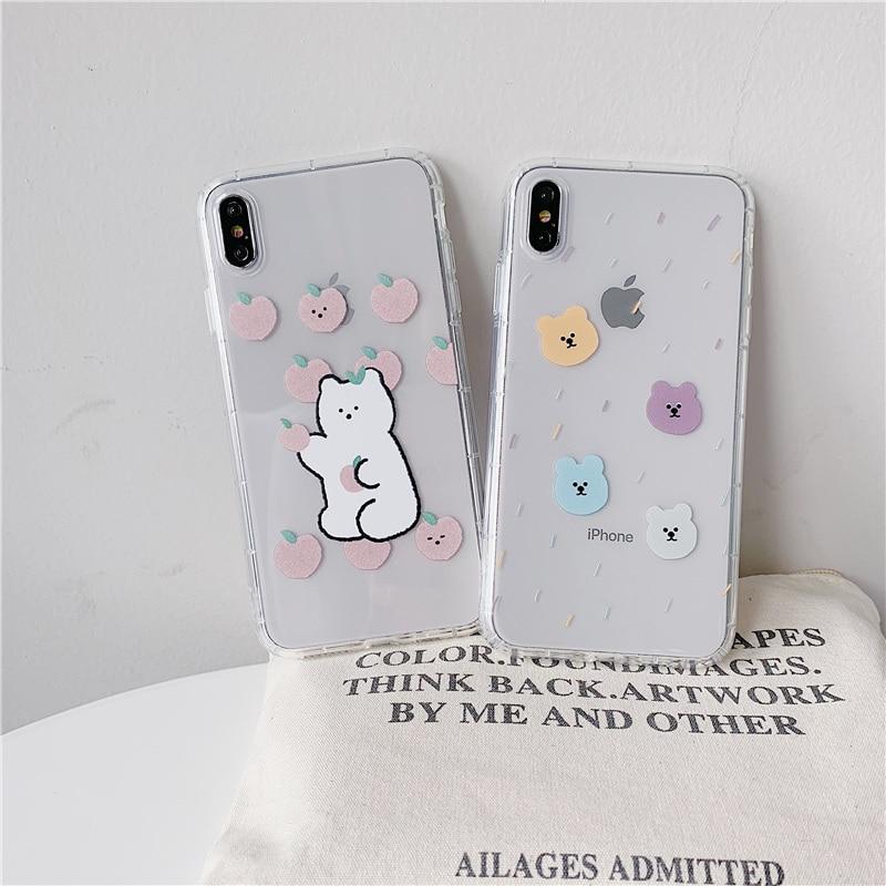 Cute case bear pattern for iphone XS MAX XR X 6 6S 7 8 plus Anti-fall cartoon candy bear transparent fundas INS hot coque cover