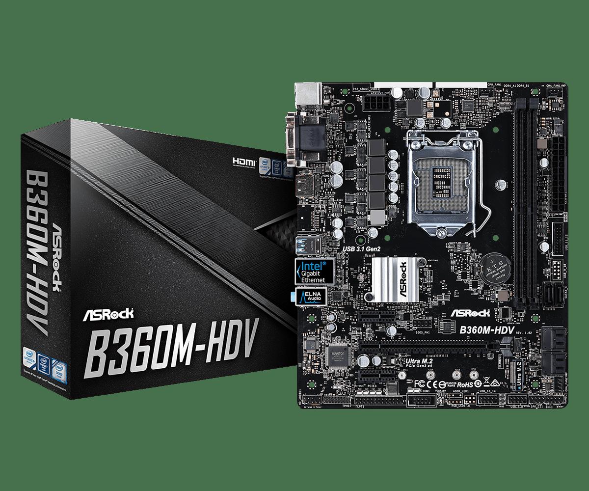 ASROCK B360M-HDV Восьмиядерный процессор LGA1151 DDR4 поддержка 8700