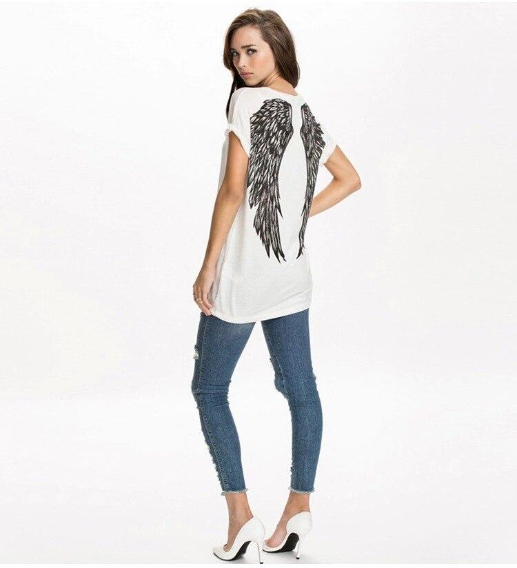 Camisetas de mujer manga suelta nuevo verano Tops corto moda europea poleras mujer alas camiseta espalda estampada