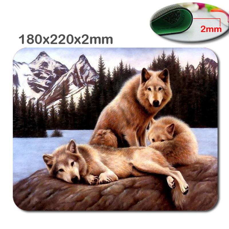 Snow Wolf al por mayor rectangular personalizado antideslizante goma 3D impresión gaming goma durable notebook mouse pad 220mm * 180mm * 2mm