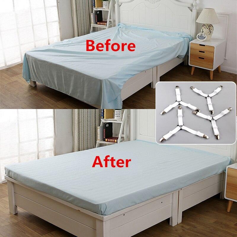 4 unids/set de Clip de sábana de cama cinturón sujetador colchón elástico antideslizante Clip manta pinza blanco y negro